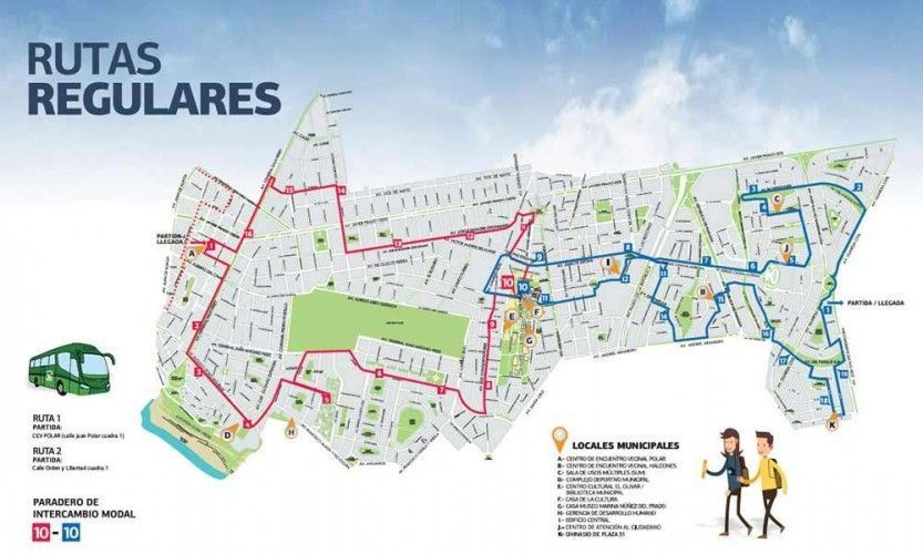 Map of San Isidro including bus stops of the route 1 and 2 of the new MiBus public transport service