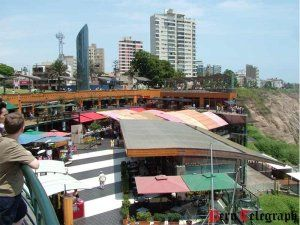 The famous shopping mall Larcomar in Miraflores, Lima reopens after a devastating fire
